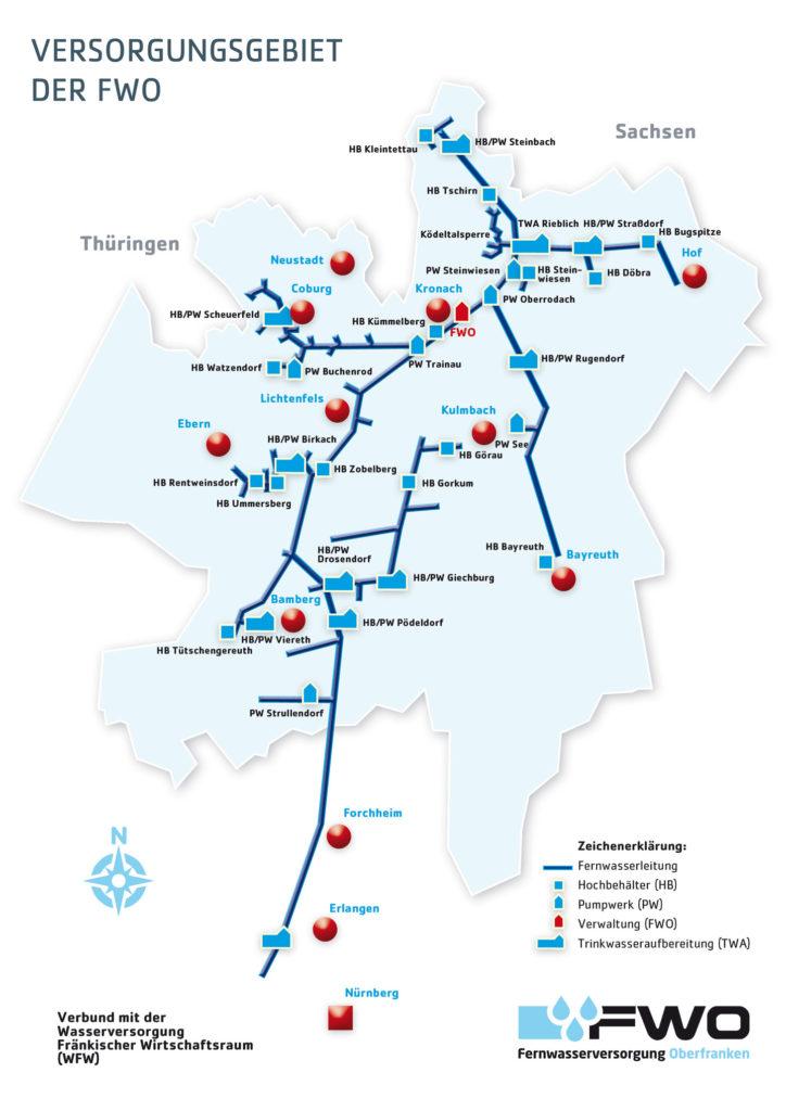 Fernwasserversorgung Oberfranken Versorgungsnetz Versorgungsgebiet Trinkwasserversorgung Trinkwasser Wasserversorgung